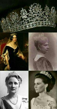 Tiara de diamantes de la Josefina: Reina Josefina de Suecia,Reina Luisa de Dinamarca, Marta Princesa Heredera & Reina Sonia de Noruega