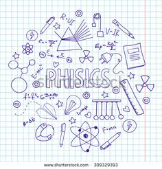 Hand drawn vector set with physics equipment. Can be used for school design.