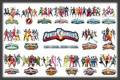 All power rangers Todos Os Power Rangers, Power Rangers Comic, Power Rangers Dino, Powe Rangers, Power Rangers Timeline, Kamen Rider, Adele, Nfc Teams, Arte Dc Comics