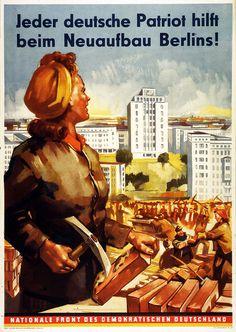 Politisches Plakat zum Wiederaufbau nach dem Zweiten Weltkrieg in der Deutschen Demokratischen Republik, 1952