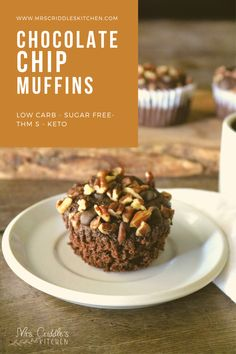 Chocolate Chip Muffins are delicious low carb, sugar free muffins that are a great grab & go breakfast or snack. They are THM S. Trim Healthy Mama Diet, Trim Healthy Recipes, Low Carb Recipes, Yummy Snacks, Healthy Snacks, Healthy Eating, Keto Muffin Recipe, Muffin Recipes, Sugar Free Muffins
