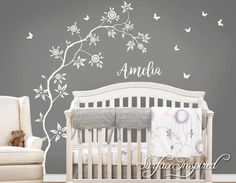 Wall Decal Nursery Tree With Personalized Name Amelia Style Tree with Butterflies | Surface Inspired Wall Decals