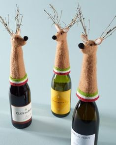 Reindeer Wine Toppers