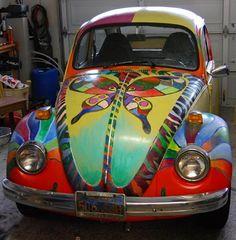 Rainbow butterfly art VW Beetle