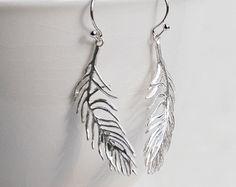 Silver FEATHER EARRINGS Woodland Nature Bird Bohemain Wedding