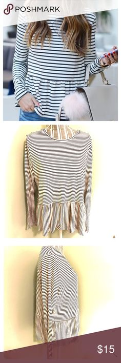 Striped Peplum Top Super cute and in EUC! No flaws that I️ can find! Size XL! Off white and black stripes. Long sleeves. A nice soft jersey Knit material! Modest neckline! From a clean and smoke free home! Please note****First photo IS NOT the same product- just a similar styled one. Measurements upon request! Old Navy Tops Tees - Long Sleeve