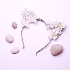 White LED Light Up Flower Cat Ears Headband