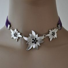 EDELWEISS Kette Halskette LILA Collier violett Dirndl Trachten Schmuck Kropfband in Uhren & Schmuck, Folkloreschmuck, Trachtenschmuck | eBay
