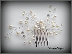Peine nupcial perlas de Marfil pedazo del pelo por Element4you