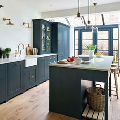 Our Suffolk kitchen, hand-painted in Charcoal, as featured in this month's EKB. Our Suffolk kitche Open Plan Kitchen Living Room, Barn Kitchen, New Kitchen, Kitchen Dining, Kitchen Decor, Kitchen Modern, Kitchen Cabinets, Kitchen Ideas, Inset Cabinets