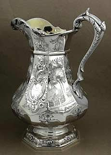 Coin Silver Scenic Pitcher by Taylor & Lawrie Silver Trays, Silver Plate, Tarnished Silver, Sterling Silver, Vintage Silver, Antique Silver, Silver Tea Set, Art Sculpture, Candlesticks