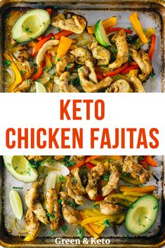 Keto sheet pan chicken fajitas is an easy, low-carb chicken dinner recipe that you can whip up in under 30 minutes.  So tasty -- your whole family will ask for seconds!