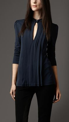 (81) Burberry London Pleated Keyhole Blouse | Style | Pinterest