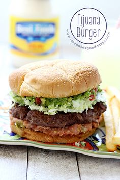 "Take your taste buds South of the border with this Tijuana Burger! This summer, just in time for the of July holiday, Best Foods [aka - Hellmann's] is staging a ""Burgervention,"" putting an end to dry burgers across America. Hamburgers, Grilling Recipes, Cooking Recipes, Easy Recipes, Vegan Recipes, Burger Dogs, Beef Burgers, Good Food, Yummy Food"
