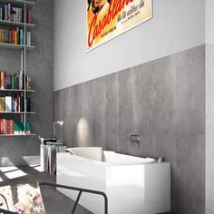 Voramar Grey Wall & Floor 900 x 450mm.  The Voramar Range creates an air of industrial style through its natural stone effect. It comes in three natural colours, which helps to create an indoor, outdoor atmosphere. https://www.tileflair.co.uk/product/Voramar%20Grey #FloorTiles #Tiles #BeautifulTiles #GreyTiles
