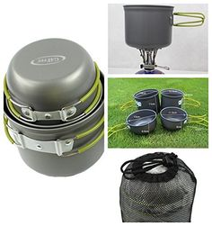 Amazon.com : G4Free Outdoor Camping pan Hiking Cookware Backpacking Cooking Picnic Bowl Pot Pan Set 4 Piece Camping Cookware Mess Kit(4 PCS-Green) : http://amzn.to/2uTnr5L