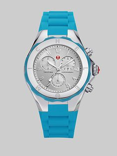 Michele Watches Silicone & Stainless Steel Chronograph Watch in Blue at London Jewelers!