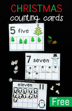 These Christmas eraser counting cards are a fun holiday math center to work on numbers, counting, and one to one correspondence! Christmas Math, Preschool Christmas, Kindergarten Activities, Preschool Activities, Christmas Cards, Preschool Learning, Kindergarten Classroom, Christmas Ideas, 2 Kind
