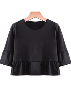 Black Short Sleeve Ruffle Loose Crop T-Shirt 12.67