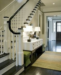 Traditional White and Dark Wood Stairs