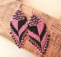 Your place to buy and sell all things handmade Seed Bead Earrings, Fringe Earrings, Beaded Earrings, Seed Beads, Native American Beading, Native American Fashion, Gypsy Chic, Long Fringes, Earring Tutorial