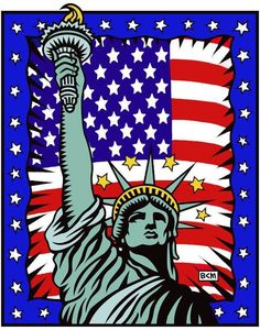 Statue of Liberty and Stars and Stripes ~ Burton Morris Pop Art