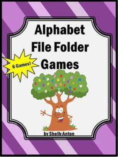 Here are 6 printable file folder games with an alphabet theme! These make great independent work tasks for children with autism or other special needs. They would also be appropriate for a kindergarten or preschool classroom.  Practice the alphabet, matching upper and lower case letters, beginning sounds and more! Most students really enjoy file folder games while practicing essential skills!