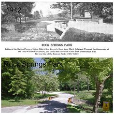 Rock Springs Park, Alton, IL, comparing the 1912 photo and a more modern photo. From the collection of Doug Mayes