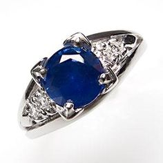 1 Carat Blue Sapphire & Diamond Engagement Ring Platinum by EraGem