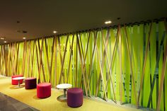Office Interior: Stunning Natural Office Workspace Interior Decorating With Lime Green Scheme