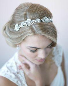 Rhinestone Bridal Headband Vintage Wedding Headband by USABride Bride Headband, Wedding Headband, Silver Headband, Rhinestone Headband, Vintage Wedding Hair, Vintage Bridal, Wedding Bride, Wedding Ideas, Wedding Stuff