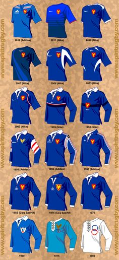 Histoire du maillot du XV de France From 1960 to 2002 it's awesome, than it starts looking like soccer (it sucks! Rugby Kit, Rugby Sport, Women's Cycling, Rugby Jersey Design, Rugby Feminin, Rugby Workout, French Rugby, Rugby Pictures, Mens Rugby Shirts