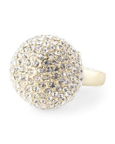 Gold Tone Pave Large Disco Ball Ring