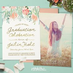 Showcase your favorite graduation photo on this peach and mint floral graduation party invitation and graduation announcement in one. Graduation Party Invitations, Graduation Decorations, Graduation Party Decor, Graduation Photos, Graduation Announcements, Grad Parties, Invites, Jw Printables, Party Signs