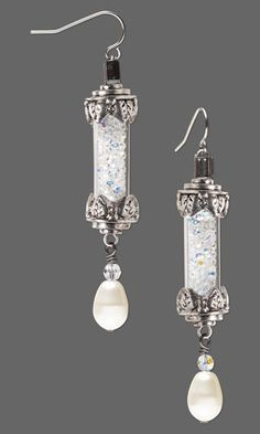 """Earrings with SWAROVSKI ELEMENTS and Acrylic and Antiqued Silver-Finished Brass and """"Pewter"""" Focals"""