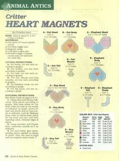 CRITTER HEART MAGNETS by CHRISTINA LAWS 1/2