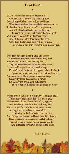 Poem: To Autumn -- by John Keats.