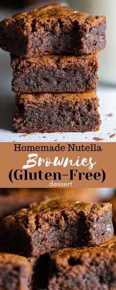 Nutella Brownies, No Bake Brownies, Homemade Brownies, Chocolate Meringue Cookies, Triple Chocolate Cookies, Best Dessert Recipes, Gourmet Recipes, Free Recipes, Gluten Free Desserts