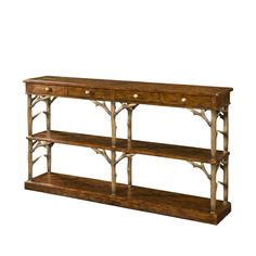 An antiqued wood console table, with four frieze drawers, on faux deer antler legs joined by a planked undertier, on plinth base. The original Victorian. Sofa Furniture, Rustic Furniture, Furniture Design, Furniture Ideas, Computer Armoire, Theodore Alexander, Luxury Furniture Brands, Bronze, Sofa Tables