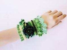 Ilex Altiplana ... Freeform Crochet Cuff - Green-Beaded Beadwork- Freeform Crochet Cuff -Flowers-Turkish Lace-Special Handmade