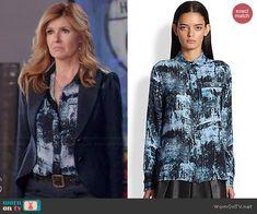 Rayna's blue printed shirt on Nashville.  Outfit Details: http://wornontv.net/46162/ #Nashville