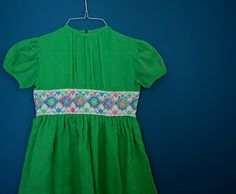 Vintage Girl's Organdy Dress with Embroidered Waistband- Size 8-10. , via Etsy.