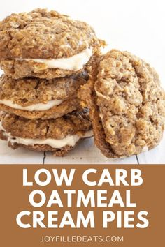 These homemade low carb keto Oatmeal Cream Pies are a show stopper! They are made with a sweet and tender cookie that has been filled with a cream cheese filling. Perfect for dinner parties, snacks, or whenever you are looking for a melt in your mouth treat. These easy keto oatmeal cookies are also gluten-free, sugar-free, and Trim Healthy Mama friendly. Desserts For A Crowd, Low Carb Desserts, Gluten Free Desserts, Fun Desserts, Gluten Free Recipes, Delicious Desserts, Dessert Recipes, Keto Oatmeal, Oatmeal Cream Pies