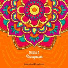 Mandala background with great colors Free Vector Mandala Design, Mandala Art, Indian Mandala, Mandala Drawing, Coloring Books, Coloring Pages, Desenho Tattoo, Flower Doodles, Black And White Abstract