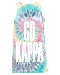 Kappa Kappa Gamma Go Kappa Bleed Blue Tie Dye Tank Adam Block Design