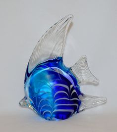 DYNASTY Gallery Art Glass Twin Blue//Green Clear Dolphins