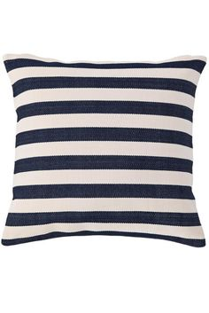 Fresh American | Fresh American Trimaran Stripe Navy/Ivory Indoor/Outdoor Pillow | Set sail for high style with our classic nautical stripe in a horde of happy hues.
