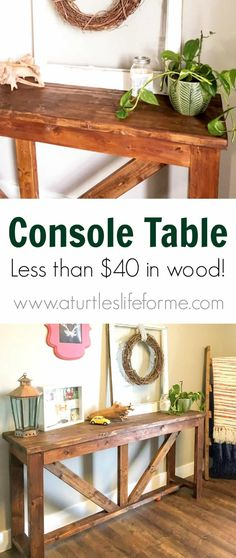 home sweet home DIY Console Table out of - A Turtle's Life for Me Acne Remedies For A Smoother Diy Furniture Couch, Pallet Furniture, Furniture Projects, Furniture Plans, Concrete Furniture, Backyard Furniture, Furniture Market, Furniture Removal, Furniture Outlet