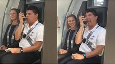 A Southwest Airlines flight attendant gives instructions using Looney Tunes…