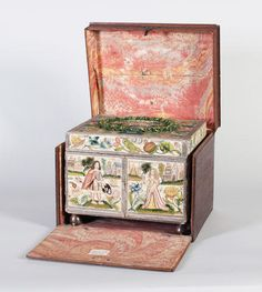 The Gape Casket, a fine mid-17th century needlework casket of rectangular form, executed in a variety of stitches and techniques